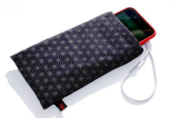 Handy-Taschen neutral - Dunkelblaues Sashiko-Muster