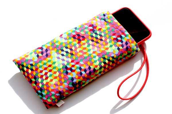 Handy-Taschen neutral - Buntes 3-D-Muster