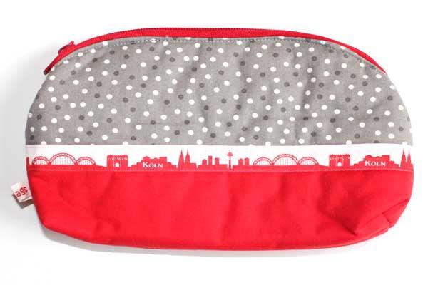 Krimskrams-Taschen - Grau-weiße Tupfen mit Dom und Köln-Skyline