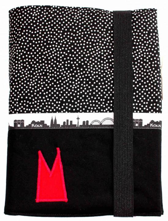 Notizbuchhülle mit Stifthalter - Schwarz-weiße Tupfen mit Schwarz und Köln-Skyline