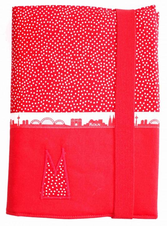 Notizbuchhülle mit Stifthalter - Rot-weiße Tupfen mit Rot und Köln-Skyline