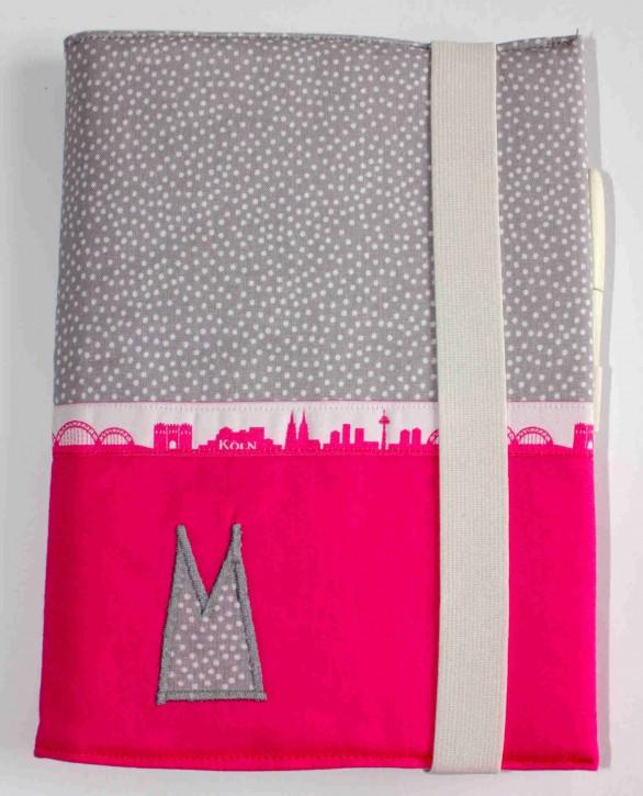 Notizbuchhülle mit Stifthalter - Grau-weiße Tupfen mit Pink und Köln-Skyline