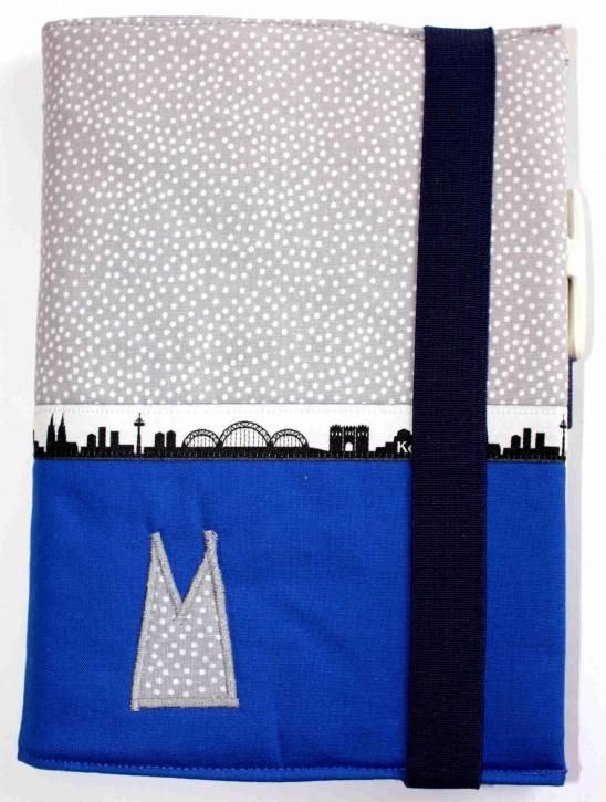 Notizbuchhülle mit Stifthalter - Grau-weiße Tupfen mit Blau und Köln-Skyline