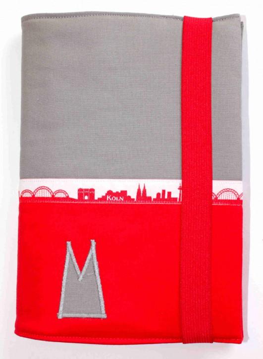 Notizbuchhülle mit Stifthalter - Grau mit Rot und Köln-Skyline