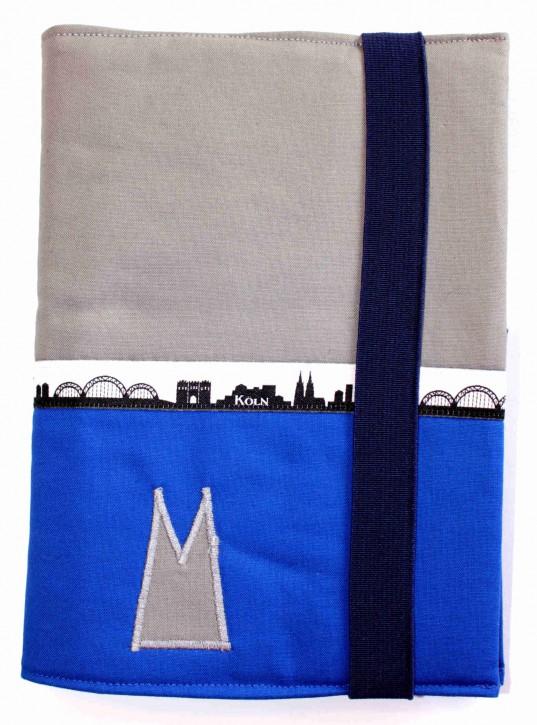 Notizbuchhülle mit Stifthalter - Grau mit Blau und Köln-Skyline