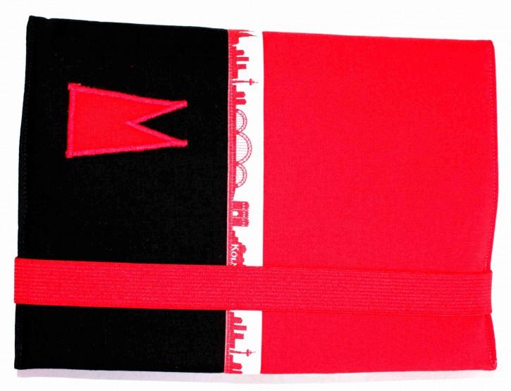 Notizbuchhülle mit Stifthalter - Rot mit Schwarz und Köln-Skyline