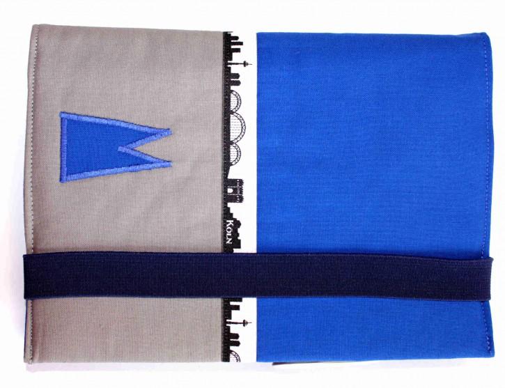 Notizbuchhülle mit Stifthalter - Blau mit Grau und Köln-Skyline
