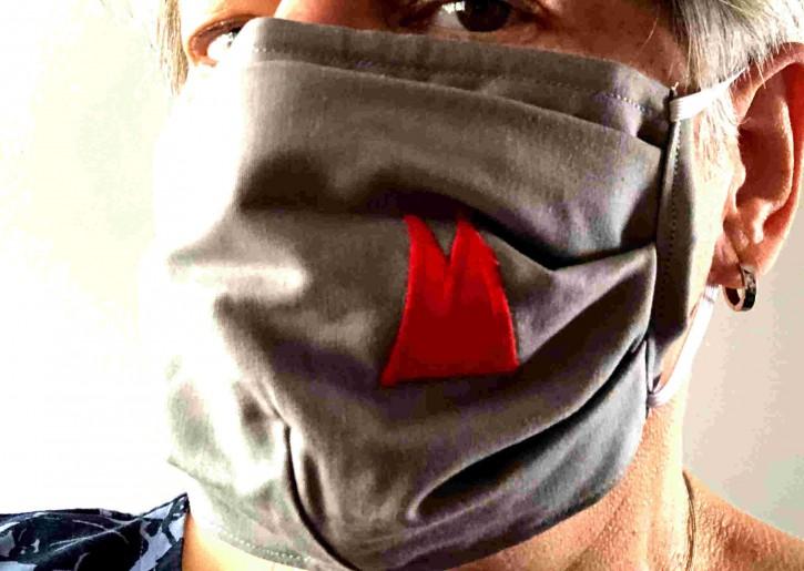 Alltagsmaske - Grau mit roten Dom-Spitzen