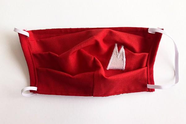 Alltagsmaske - Rot mit weißen Dom-Spitzen