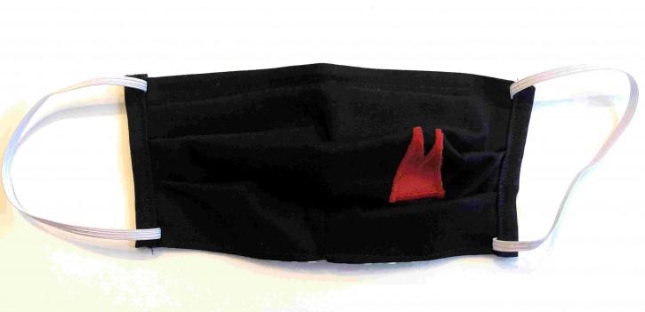 Alltagsmaske - Schwarz mit roten Dom-Spitzen