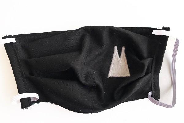 Alltagsmaske - Schwarz mit weißen Dom-Spitzen