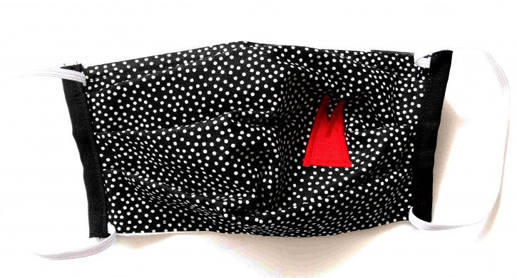 Alltagsmaske - Schwarz-weiße Tupfen mit roten Dom-Spitzen
