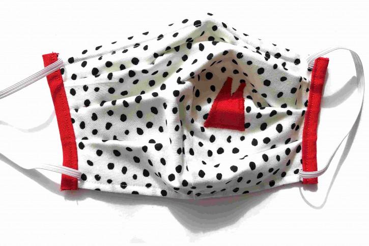Alltagsmaske - Weiß-schwarze Tupfen mit roten Dom-Spitzen
