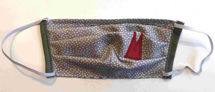 Alltagsmaske - Grau-weiße Tupfen mit roten Dom-Spitzen