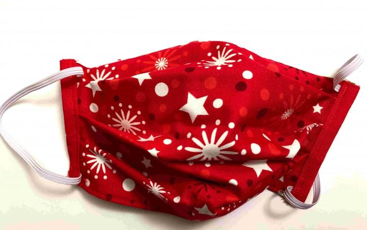 Alltagsmaske - Rot-weiße Weihnachts-Sterne