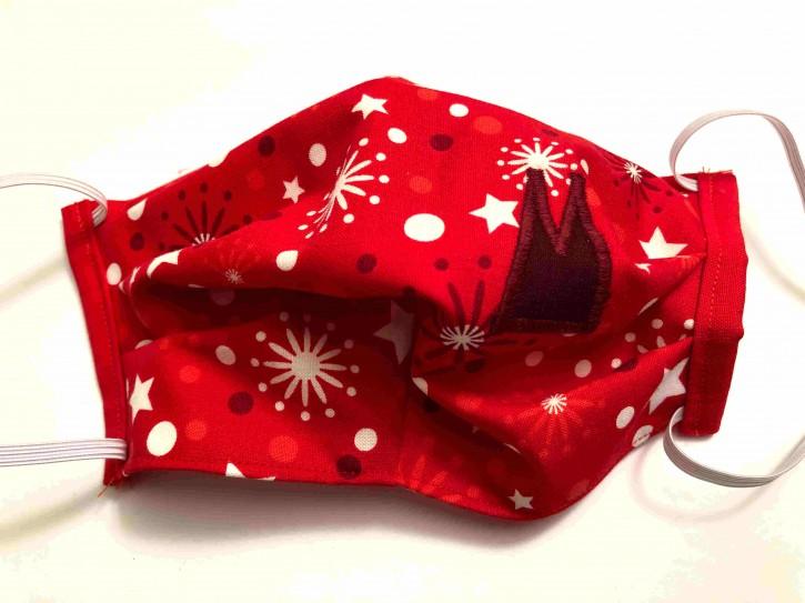 Alltagsmaske - Rot-weiße Sterne mit dunkelroten Dom-Spitzen