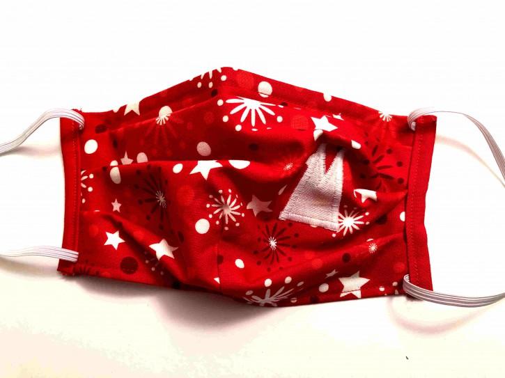 Alltagsmaske - Rot-weiße Sterne mit weißen Dom-Spitzen