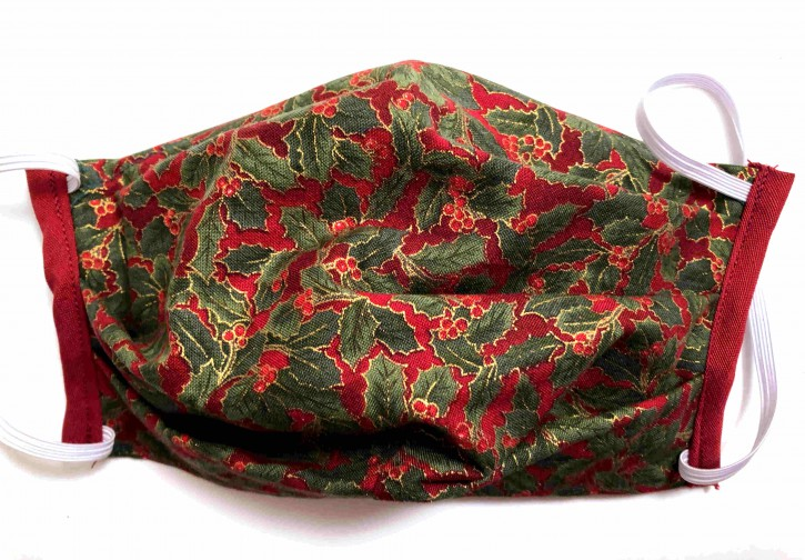 Alltagsmaske - Rot-grün-goldene Ilex-Zweige