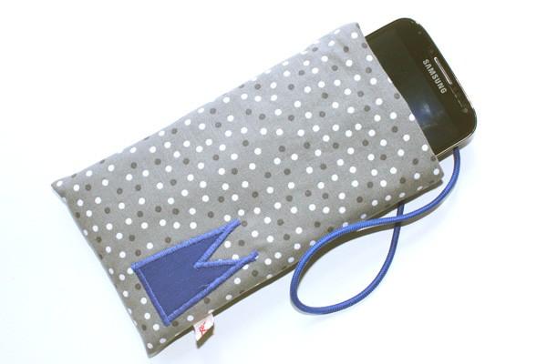 Handy-Tasche mit blauem Dom / grau-weiß