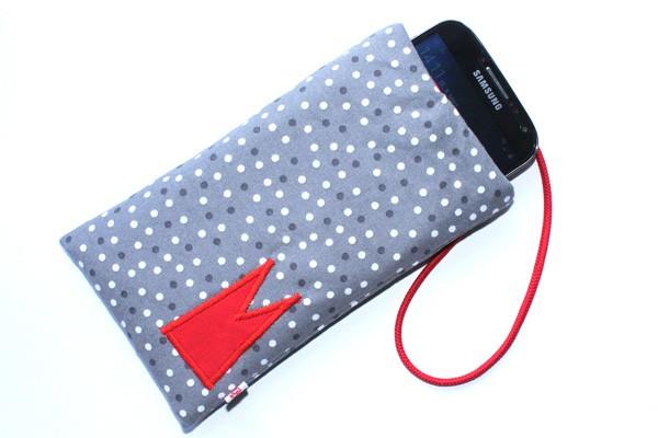 Handy-Tasche mit rotem Dom / grau-weiß