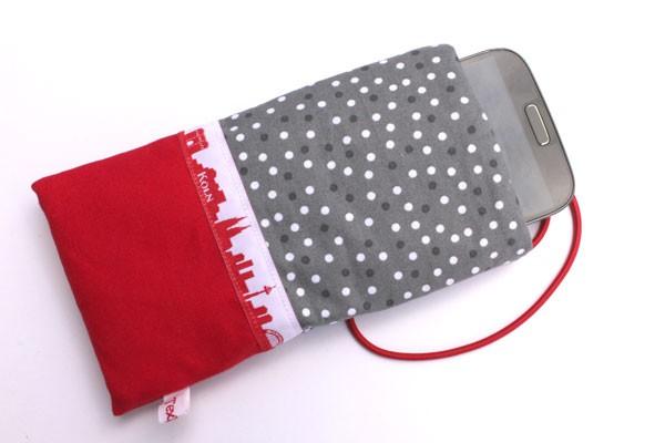 Handy-Taschen mit Köln-Skyline grau-weiß / rot