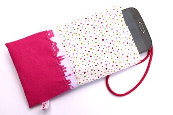 Handy-Taschen mit Köln-Skyline Pink-weiß / Pink