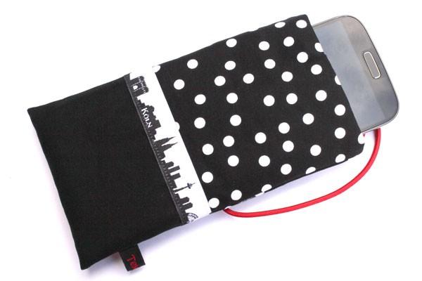 Handy-Tasche mit Köln-Skyline / schwarz-weiß