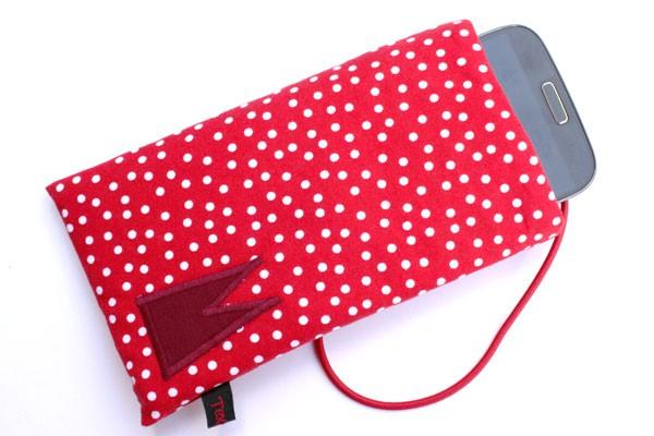Handy-Tasche mit dunkelrotem Dom / rot-weiß