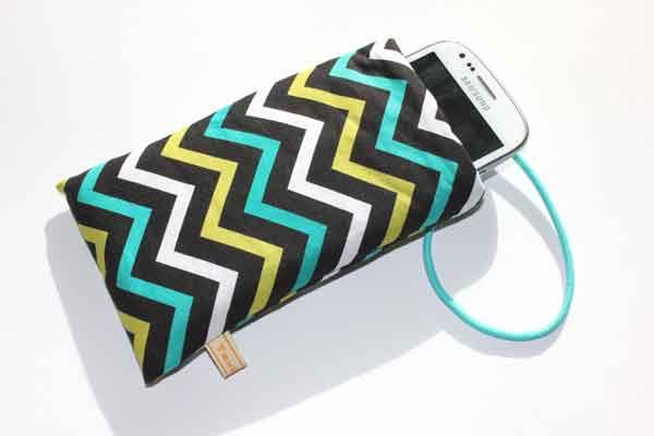 Handy-Taschen neutral - Zickzack-Muster