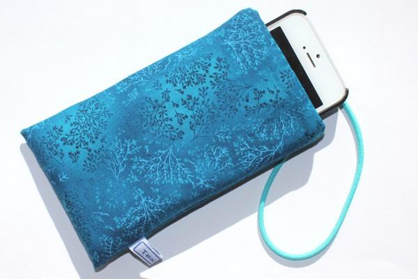 Handy-Taschen neutral - Blaugrüne Ranken