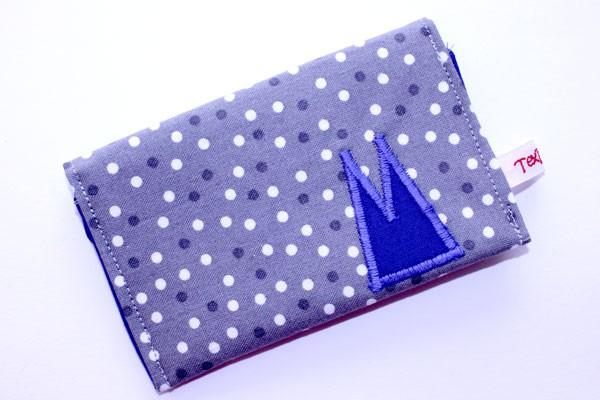 Karten-Etui - Grau-weiße Tupfen / mit blauen Domspitzen