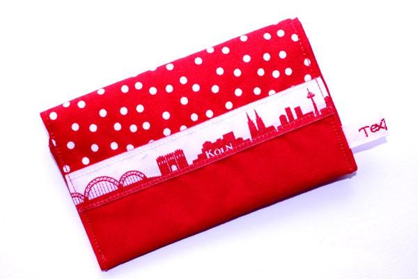 Karten-Etui - Rot-weiße Tupfen mit Rot / Köln-Skyline