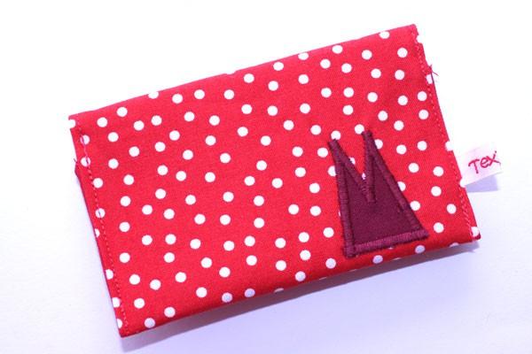 Karten-Etui - Rot-weiße Tupfen / mit dunkelrotem Dom