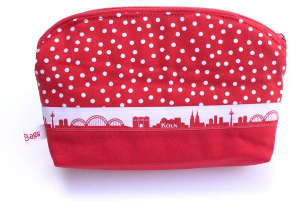 Krimskrams-Tasche - Rot-weiße Tupfen mit Rot / mit Dom und Köln-Skyline