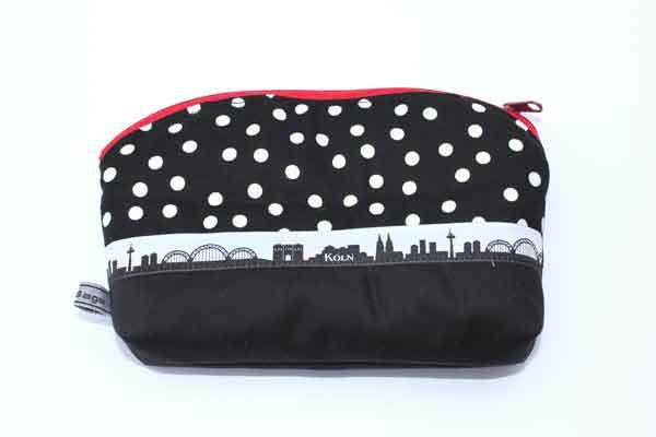 Krimskrams-Tasche-klein - Schwarz-weiße Tupfen mit Schwarz / mit Dom und Köln-Skyline