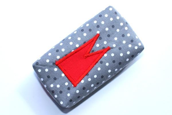 Taschentücher-Box-groß - Grau-weiße Tupfen mit rotem Dom