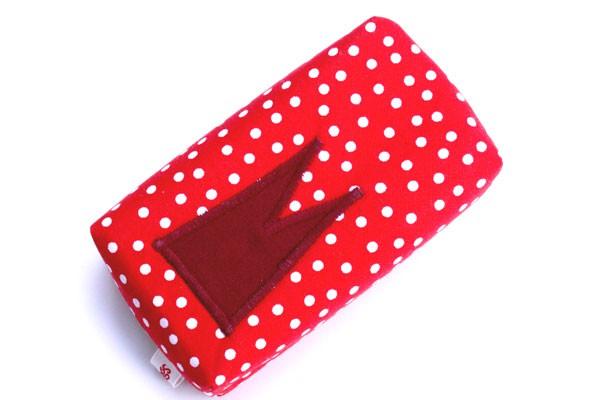 Taschentücher-Box-groß - Rot-weiße Tupfen mit dunkelrotem Dom
