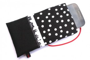 Handy-Tasche mit Köln-Skyline - schwarz-weiß M