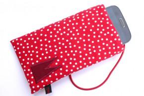 Handy-Tasche mit dunkelrotem Dom / rot-weiß M+